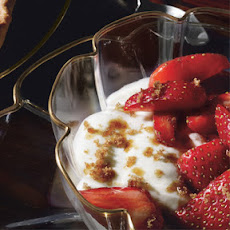Vanilla Creams with Strawberries in Cassis