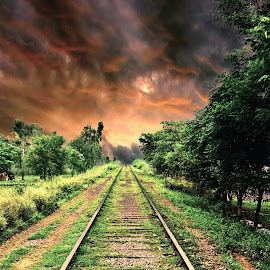 track to fire by Mudassar Ranjha Mbdin - Transportation Railway Tracks ( leading line, clouds, railway, fairzzz photography, photochallange, transportation, railway track, fire,  )