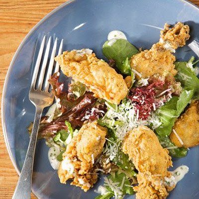 Greens with Fried Oysters and Buttermilk Dressing