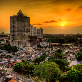 City from level 17 hotel building by Hafiz Hj Ismail - City,  Street & Park  Neighborhoods ( building, sunset, street, hotel, house, sun, city )