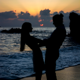 A love blessed with the heart shaped sun by Miguel Ponte - People Couples ( love, heart, silhouette, sunset, couple )