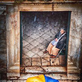 EU by MIhail Syarov - City,  Street & Park  Street Scenes ( eu, europe, beggar, umbrella, union, pauper, mednicant, cadger, rain, lasarus, blue, orange. color )