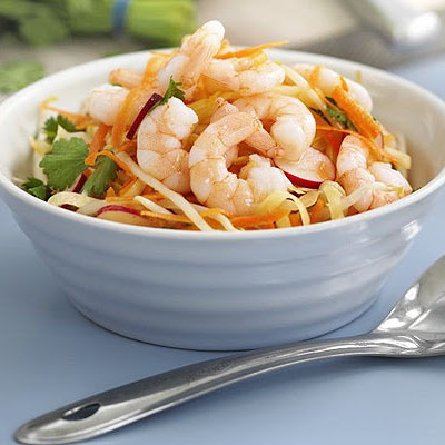 No-cook Asian prawn coleslaw