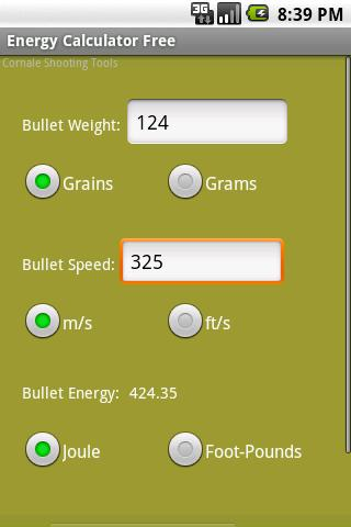 Bullet Energy Calculator Free