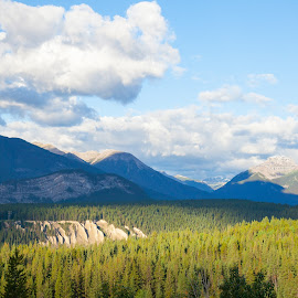 Banff by Peter Grutter - Landscapes Mountains & Hills ( clouds, national park, canada, forest, banff )
