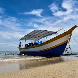 Lonely Boat by Balachandar Dev - Transportation Boats ( blue skies, beach, boat )