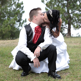 Love is by Lodewyk W Goosen-Photography - Wedding Bride & Groom ( love, kiss, wedding, bride and groom, marriage )