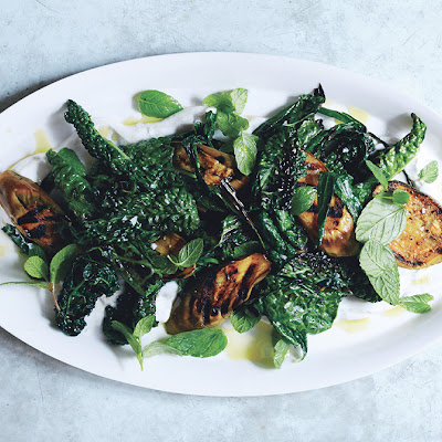 Grilled Eggplant and Greens with Spiced Yogurt