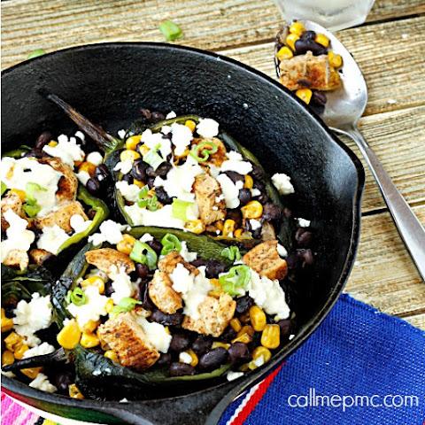 Fajita Seasoned Chicken Black Beans and Corn Stuffed Poblano Peppers