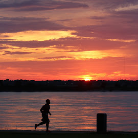Runner at Sunset! by Rhonda Mullen - Sports & Fitness Fitness