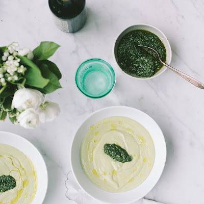 Chilled Avocado Soup with Mint & Nettle Pesto