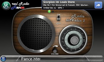 Screenshot of real Radio France