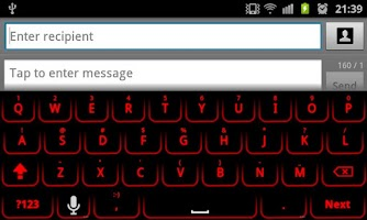 Screenshot of Red Glow Keyboard Skin Pro