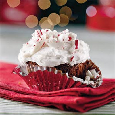 Chocolate-Peppermint Candy Cupcakes