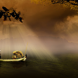 by Herry West - Digital Art People ( bamboo, baskets, delivery, boat, man )