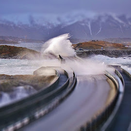 Storm by Jan Helge - Landscapes Weather ( water, wave, atlantic road, storm, norway )