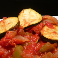 Linda's Zesty Stewed Tomatoes With Zucchini, Onions and Peppers