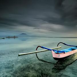 Half by Ina Herliana Koswara - Transportation Boats ( water, sky, sanur, morning, boat )
