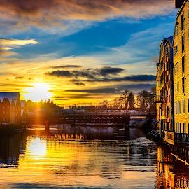sunset at Trondheim bridge by Norman Pozuelos - City,  Street & Park  Historic Districts ( houses, sunset, bridge )