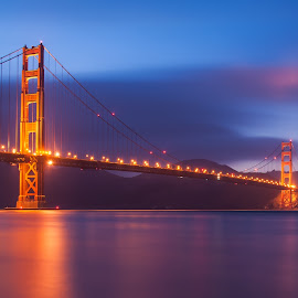 Golden Gate Night by Aman Rawal - Buildings & Architecture Bridges & Suspended Structures ( lights, golden gate bridge, california, blue hour, night, long exposure, bridge, san francisco, city )
