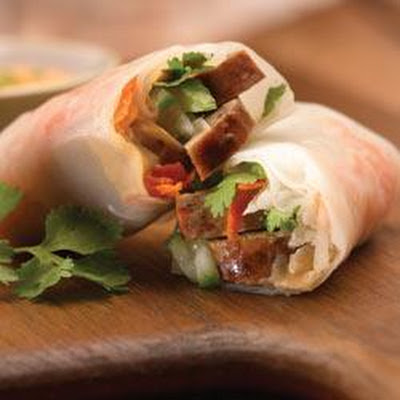 Vietnamese-Style Spicy Jalapeno Chicken Sausage Spring Roll