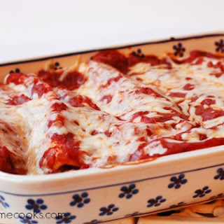 Chicken Enchiladas with Red Sauce and White Cheese