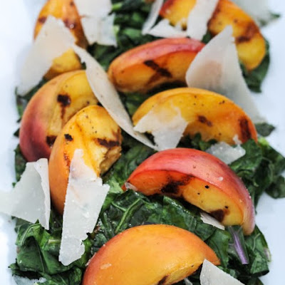 Grilled Kale and Peach Salad