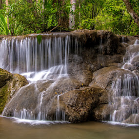 Waterfall Thailand. by John Greene - Landscapes Waterscapes ( jihn greene, thailand, scenic, huaymaekhamin, kanchanaburi )
