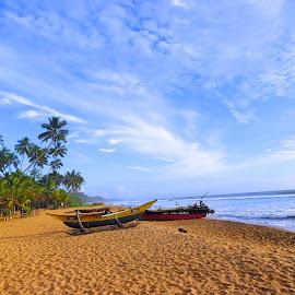Fishing Boats by Charmini Delgoda - Transportation Boats ( sand, transportation, beach, landscape, fishing boat, photography )