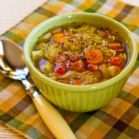Crockpot (or Stovetop) Recipe for Ham and Cabbage Soup with Red Bell Pepper
