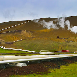 Geothermal plant in Iceland by Mike O'Connor - Transportation Other ( iceland, geothermal, heat, pipelines, energy, steam )