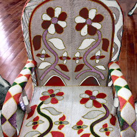 African Beaded Chair by Deborah Arin - Artistic Objects Furniture ( beading, chairs, art, african designs, beads, beaded works, antiques )