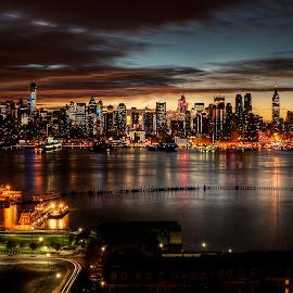 NYC #1 by Gary Aidekman - City,  Street & Park  Skylines ( manhattan skyline, skyline, sunrise, nyc, hudson river )