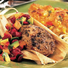Spice-Rubbed Pork Tenderloins in Corn Husks with Cranberry-Avocado Salsa