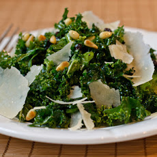 Shredded Kale Salad with Pine Nuts, Currants, and Parmesan