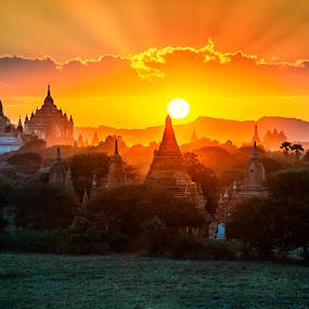 Sunset at Old Bagan by Crispin Lee - Landscapes Sunsets & Sunrises