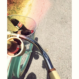 A front porch light and a blue Desota, couple a straws and a coca cola 🎶❤️ by Lauren Villarreal - Transportation Bicycles ( cocacola, bike, summer, oldschool, rascalflatts, riding )