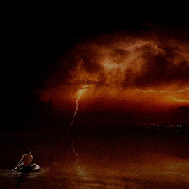 Homeward-Bound by Bjørn Borge-Lunde - Digital Art Places ( clouds, lightning, canoe, lake, storm, boat, skies, man )