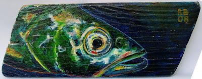 Foto eines gestohlenen Fischbretts (c) Rolf Boscheinen 2008: Trapez mit Süßwasserfisch 3