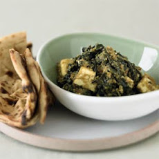 Curried Spinach with Fresh Cheese (Saag Paneer)