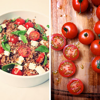 Warm Farro Salad with Cherry Tomatoes, Basil & Feta
