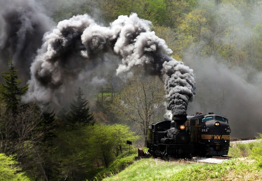 Steam Wins! by Vicki Pardoe - Transportation Trains ( west virginia, cass, steam train, diesel train, trains )