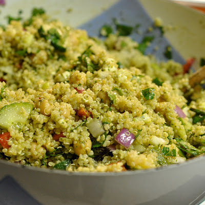 Vegetable-Stuffed Quinoa Salad with Pesto Dressing