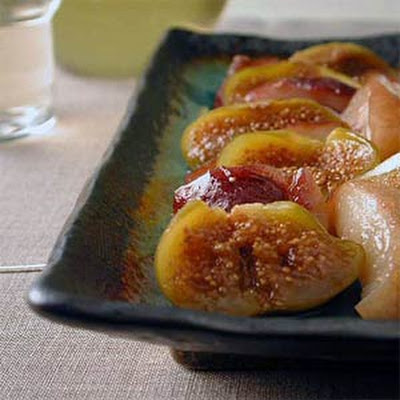 Baked Figs and Nectarines over Ice Cream