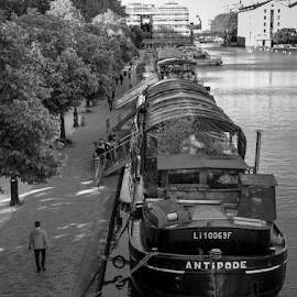 Canal Side by Darren Hanks - City,  Street & Park  Street Scenes ( water, paris, darren hanks photography, st martin, boat, canal )