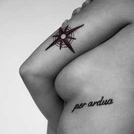 Per Ardua by Laura Martin - People Body Art/Tattoos ( breast, canon, contrast, boob, red, canada, female, black and white, tattoos, compass, tattoo, per ardua )
