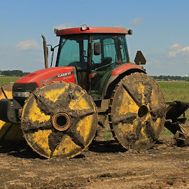 Tractor with drain cleaner on steel wheels by Ron Olivier - Transportation Other ( tractor with drain cleaner on steel wheels )