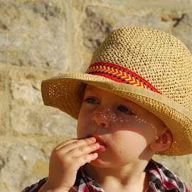 Sometimes I think... by Sarah Talbot - Babies & Children Toddlers ( panama hat, straw, summer, 2 biscuit, baby, beach, toddler, bournemouth, snack, hat,  )