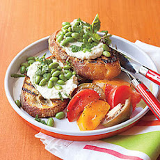 Grilled Bruschetta with Ricotta and Edamame