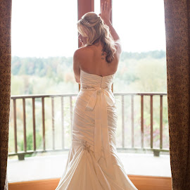 Waiting by Kate Gansneder - Wedding Bride ( bridal, wedding, wedding dress, door, bride )